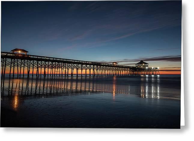 Folly Beach Pier Before Sunrise Greeting Card