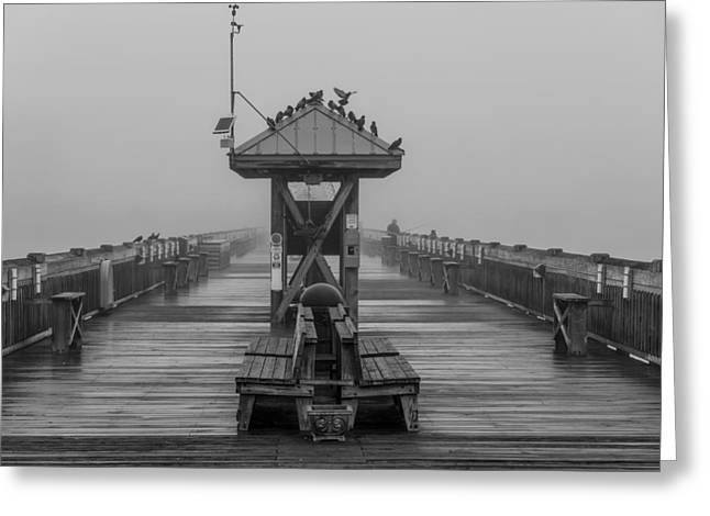 Folly Beach Pier Black And White  Greeting Card by John McGraw