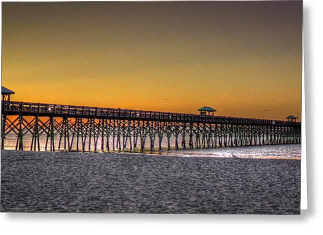 Folly Beach Pier Sunrise 2 Charleston South Carolina Art Greeting Card by Reid Callaway