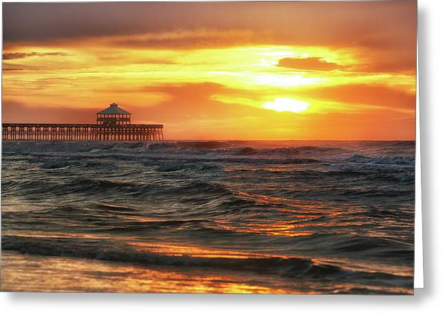Folly Beach Pier Sunrise Greeting Card by Donnie Whitaker