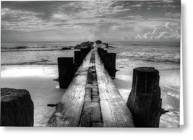 Folly Beach Pilings Charleston South Carolina In Black And White  Greeting Card