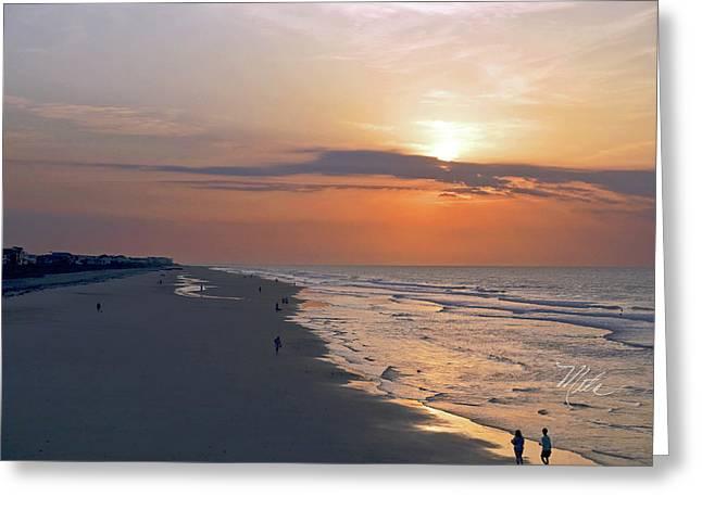 Folly Beach Sunrise Greeting Card by Meta Gatschenberger