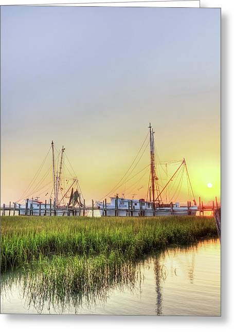 Low-country Greeting Cards - Folly Fishing Boats  Greeting Card by Drew Castelhano