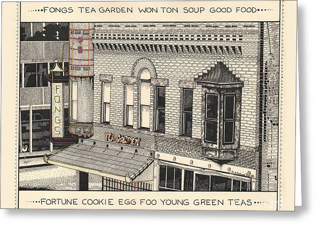 Greeting Card featuring the drawing Fongs Tea Garden by Chholing Taha