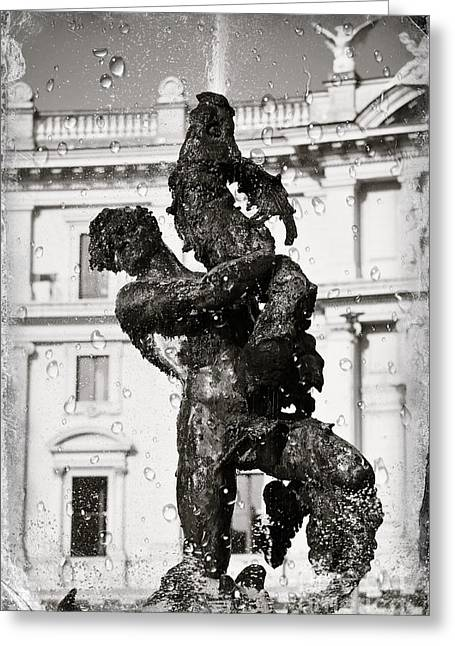 Fontain In Rome - Black And White Greeting Card by Stefano Senise