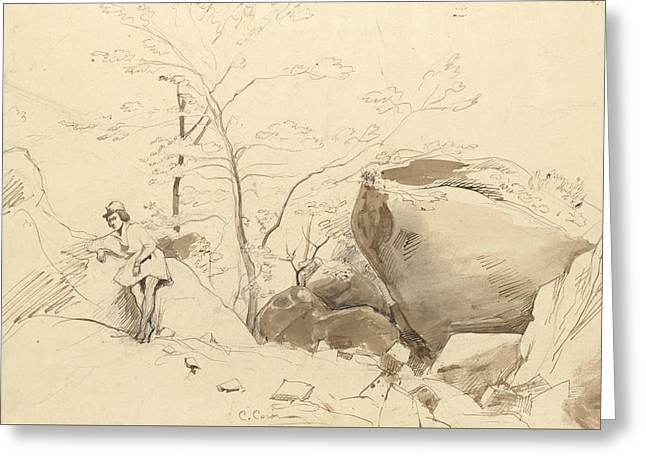 Fontainebleau, Figure Leaning Against A Rock Greeting Card by Jean-Baptiste-Camille Corot