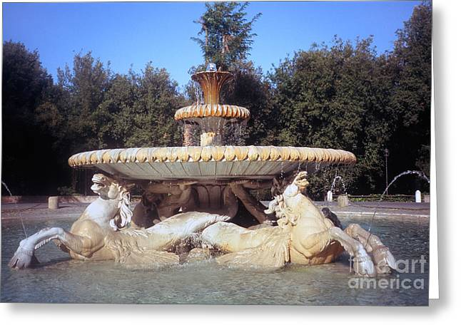 Fontana Dei Cavalli Marini  Greeting Card by Fabrizio Ruggeri