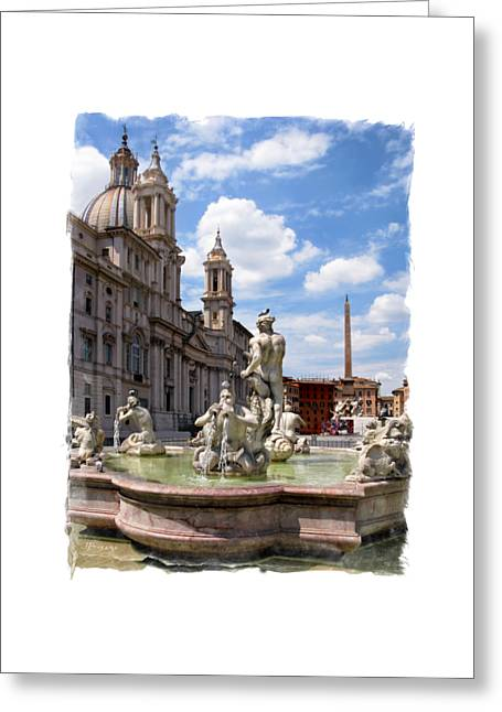 Fontana Del Moro.rome Greeting Card by Jennie Breeze