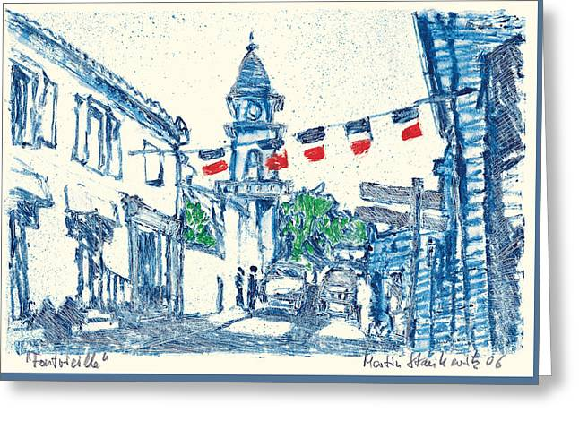 Greeting Card featuring the painting Fontvieille Village Provence by Martin Stankewitz