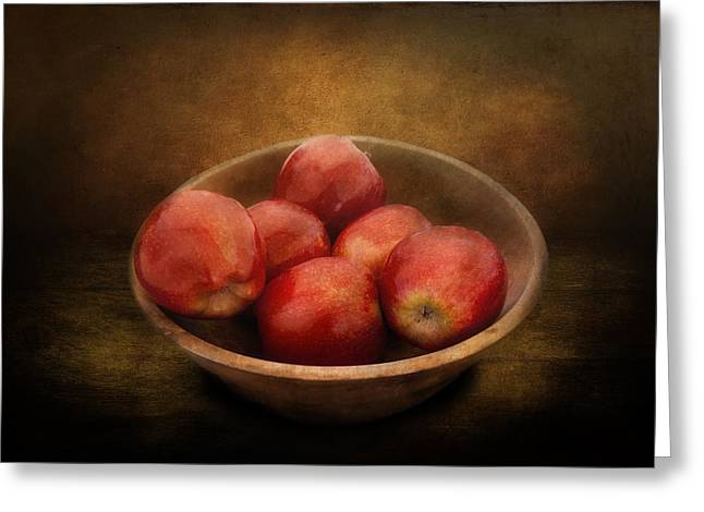 Food - Apples - A Bowl Of Apples  Greeting Card by Mike Savad
