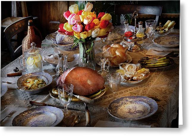 Food - Easter Dinner Greeting Card by Mike Savad