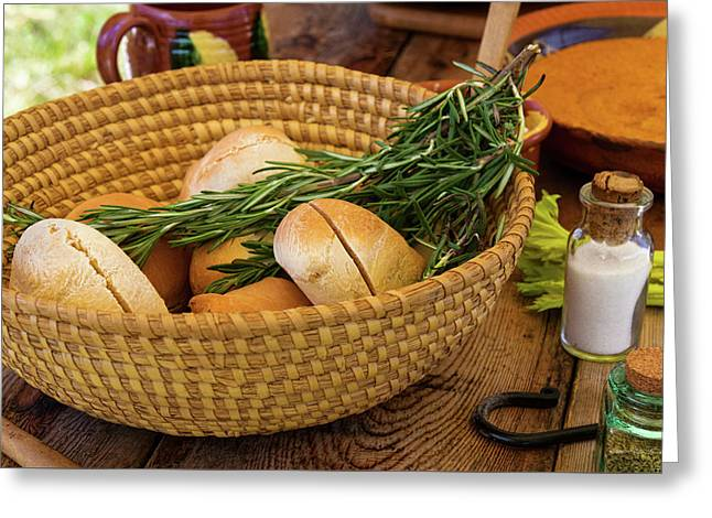 Greeting Card featuring the photograph Food - Bread - Rolls And Rosemary by Mike Savad