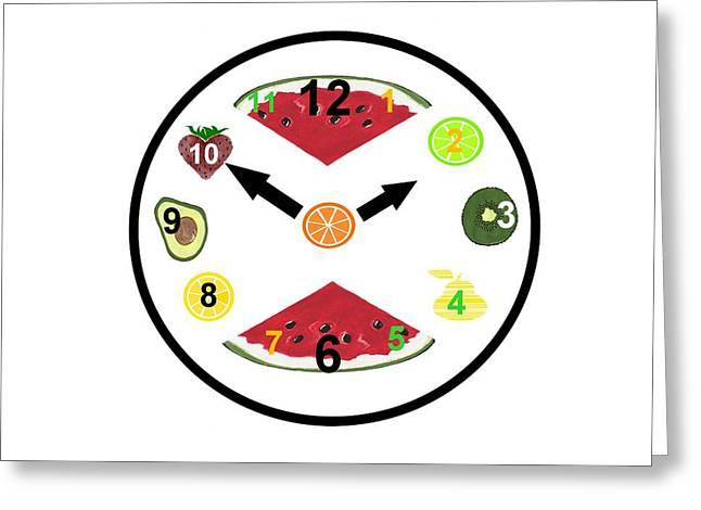 Food Clock Greeting Card by Kathleen Sartoris