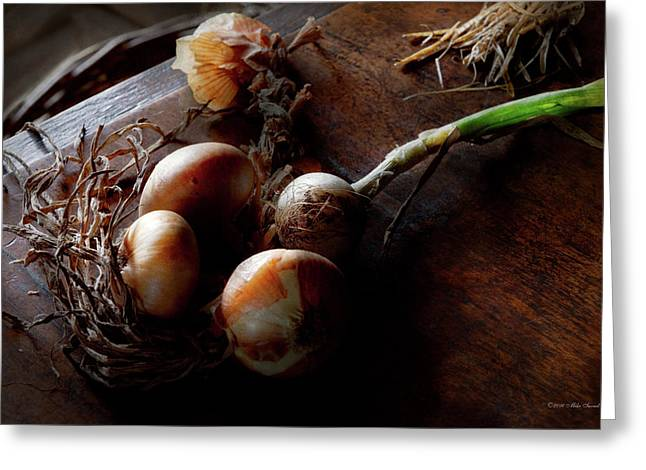 Food - Freshly Pulled Onions Greeting Card by Mike Savad