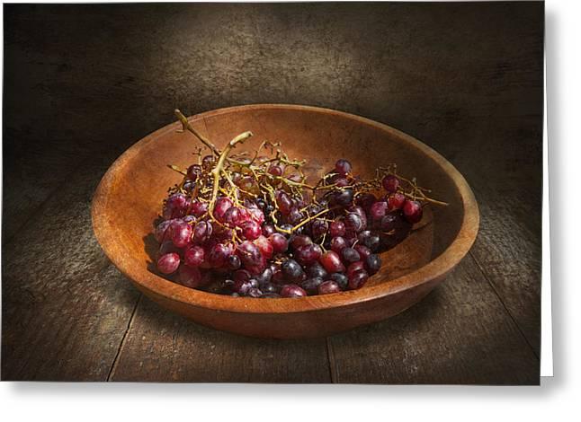 Food - Grapes - A Bowl Of Grapes  Greeting Card by Mike Savad