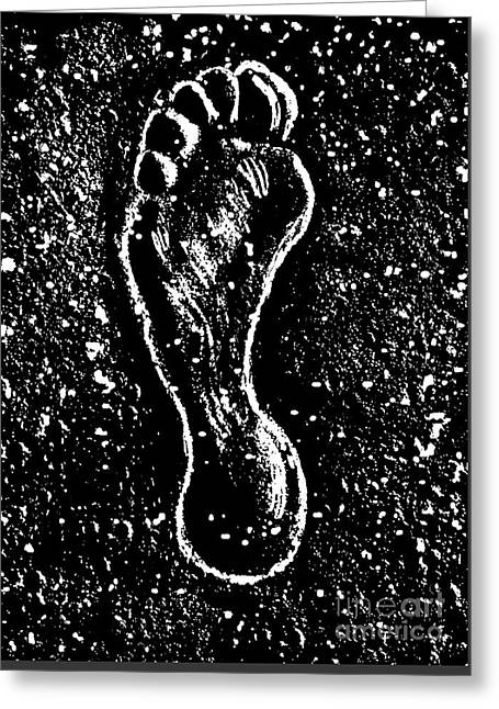 Greeting Card featuring the drawing Foot by Andrzej Szczerski