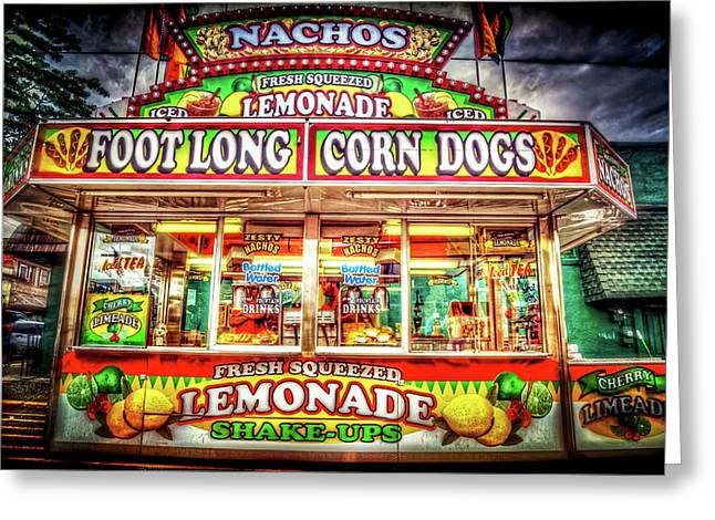 Foot Long Corn Dogs Greeting Card by Spencer McDonald