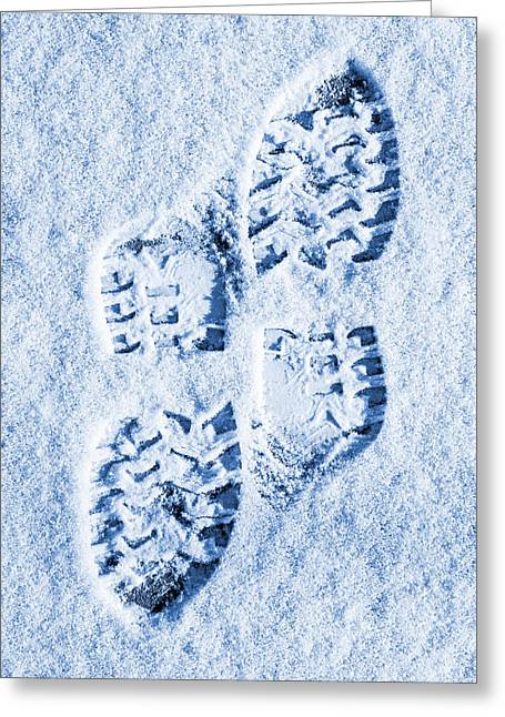 Foot Prints In Snow Blue Tone Greeting Card