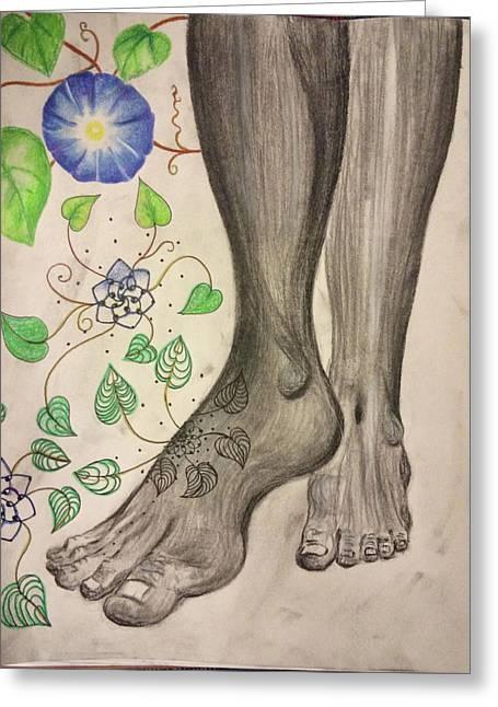 Foot Prints Greeting Card by Tonya Walter