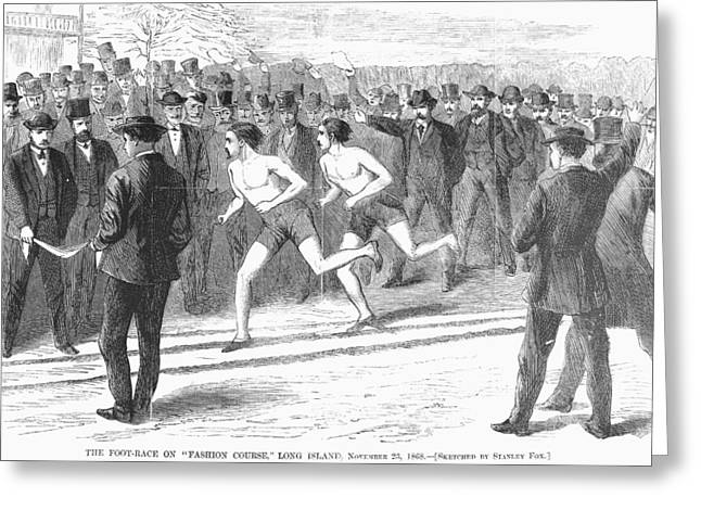1868 Greeting Cards - Foot Race, 1868 Greeting Card by Granger