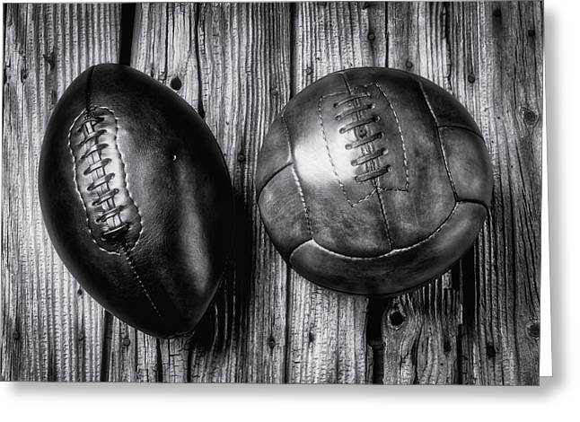 Football And Soccer Ball Greeting Card by Garry Gay