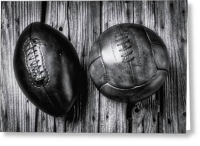 Football And Soccer Ball Greeting Card