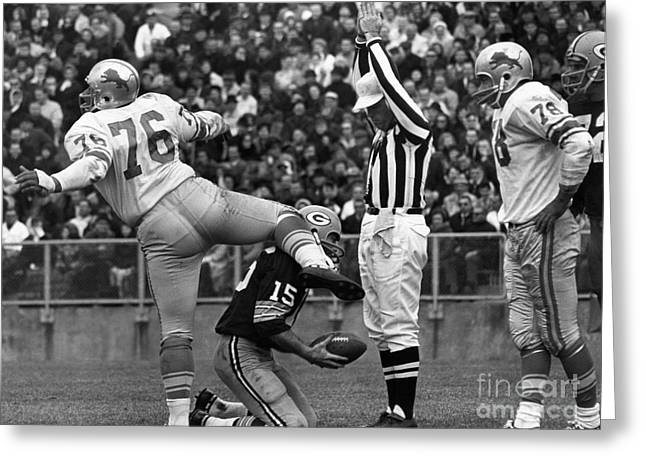Lambeau Field Photographs Greeting Cards - Football Game, 1965 Greeting Card by Granger