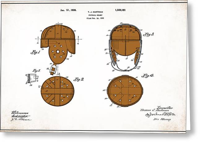 Football Helmet 1922 - White Greeting Card by Mark Rogan