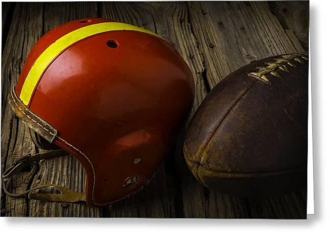 Football Helmet And Football Greeting Card by Garry Gay