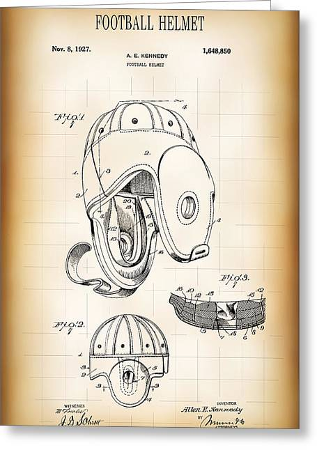 Football Helmet Patent 1927 Greeting Card by Daniel Hagerman