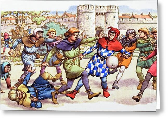 Football In The Middle Ages Greeting Card by Pat Nicolle