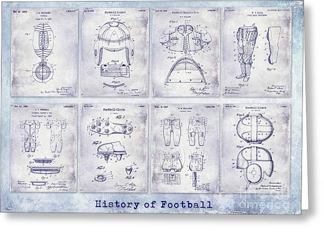 Football Patent History Blueprint Greeting Card by Jon Neidert