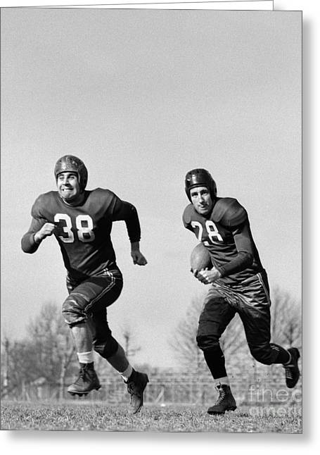 Football Players Running, C.1940s Greeting Card by H. Armstrong Roberts/ClassicStock