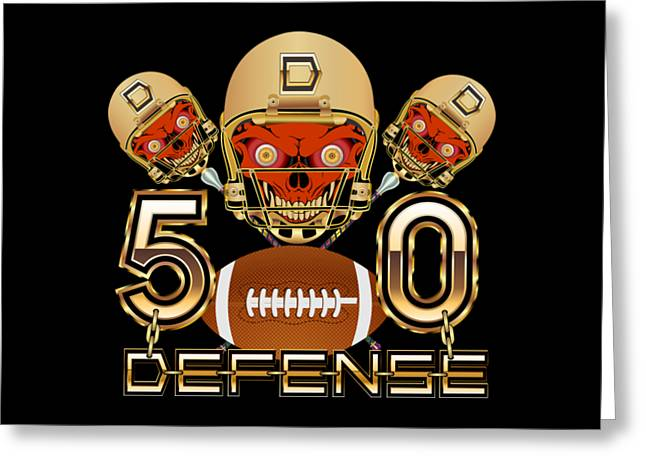 Football Sb 50 W-transparent Back Pick Color Except Print Greeting Card by Bill Campitelle