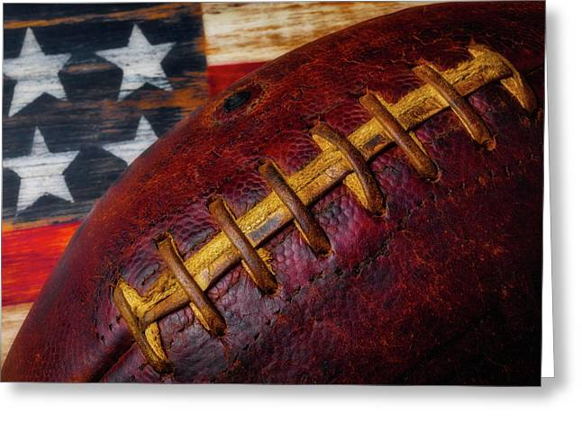 Football Stitching Greeting Card by Garry Gay