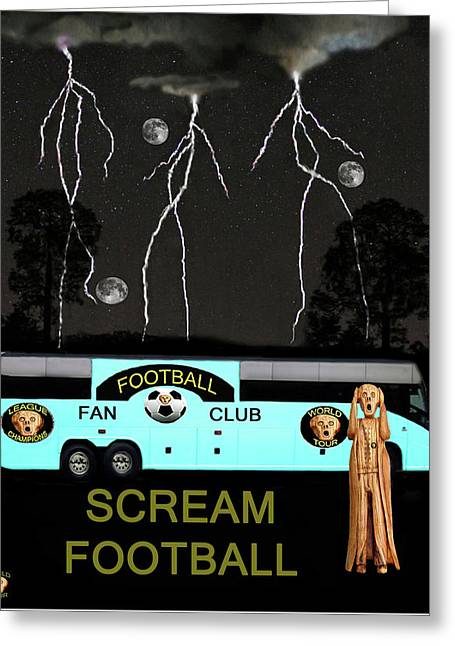 Football Tour Scream Greeting Card by Eric Kempson
