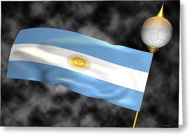 Football World Cup Cheer Series - Argentina Greeting Card by Ganesh Barad