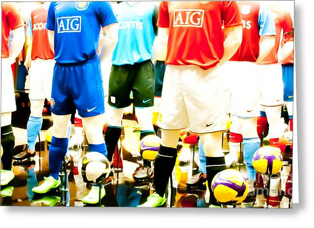 Footballers Unite Greeting Card by Andy Smy