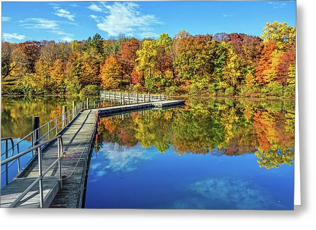 Footbridge Across Lake Greeting Card