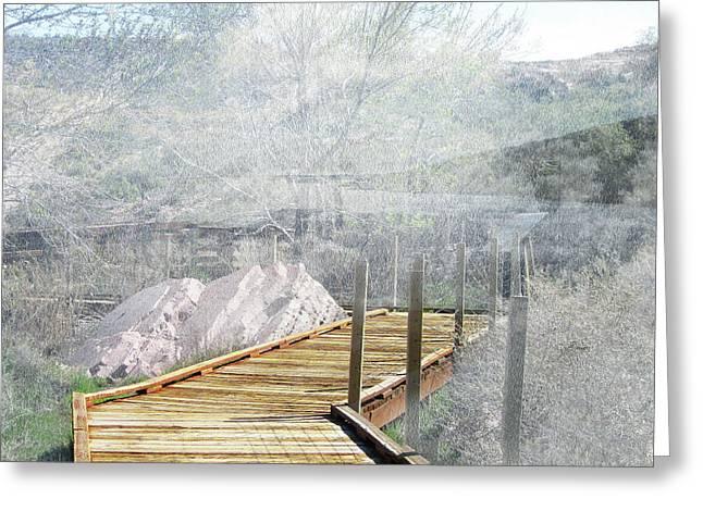 Footbridge In The Clouds Greeting Card
