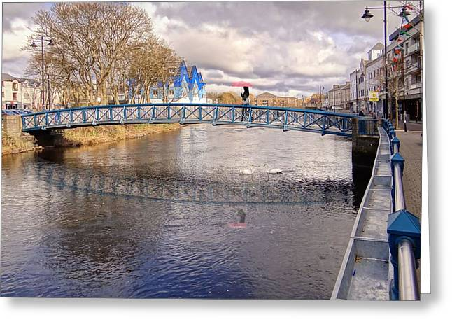 Footbridge Over The Garavogue River In Sligo With Reflections And Swans Sheltering Beneath It Greeting Card