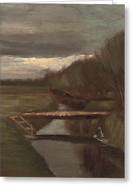 Footbridge Over The Stream, 1883 Greeting Card by Vincent Van Gogh