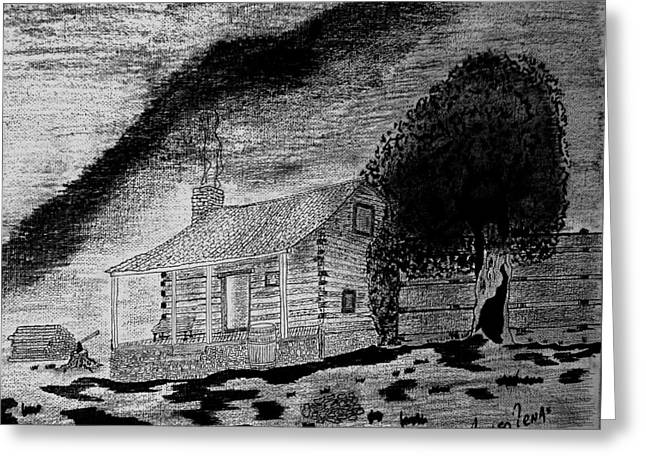 Mountain Cabin Drawings Greeting Cards - Foothill Retirement Greeting Card by Adolfo hector Penas alvarado