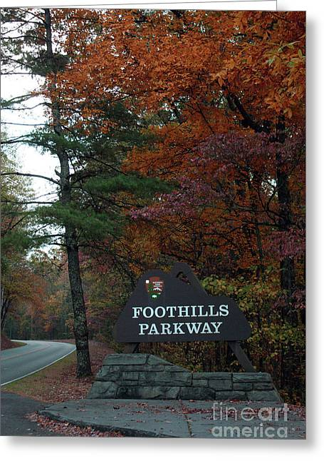 Foothills Parkway Sign In Fall Greeting Card