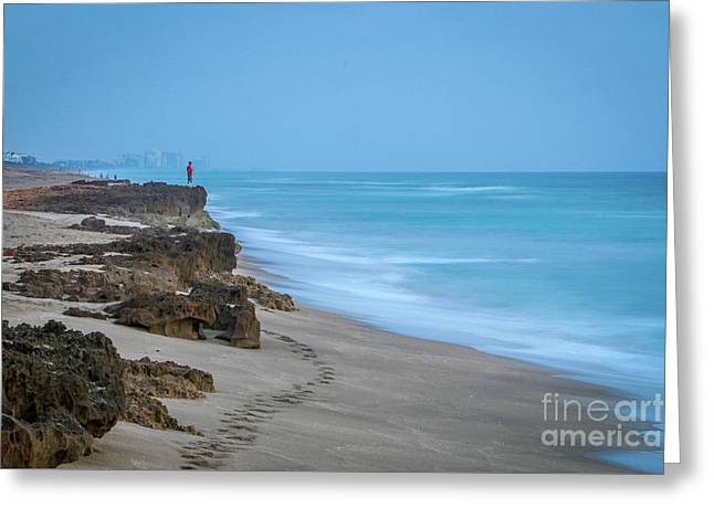 Greeting Card featuring the photograph Footprints And Rocks by Tom Claud