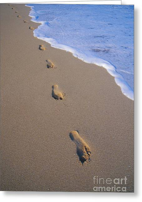 Footprints Greeting Card by Don King - Printscapes