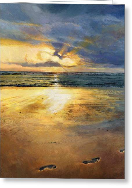 Sun Rays Paintings Greeting Cards - Footprints Greeting Card by Helen Parsley