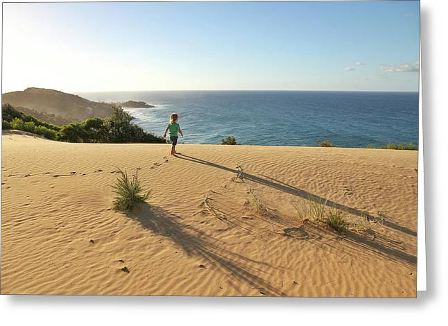 Footprints In The Sand Dunes Greeting Card