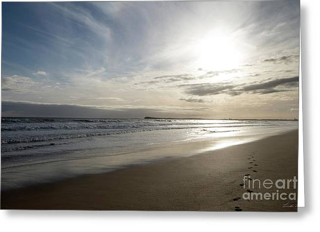Greeting Card featuring the photograph Footprints In The Sand by Linda Lees
