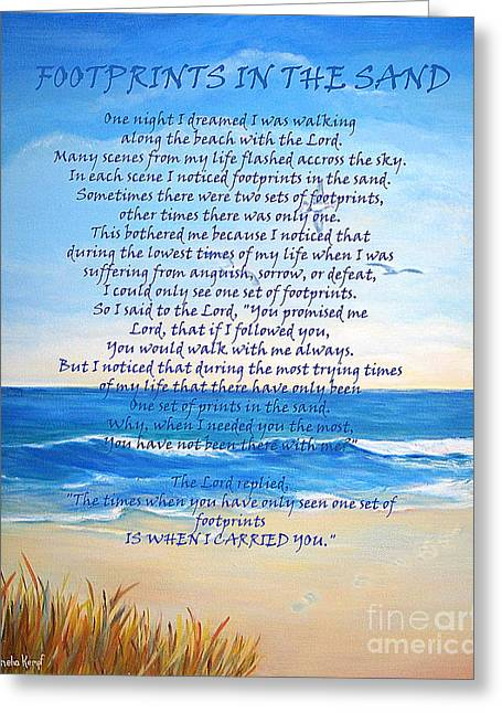 Footprints In The Sand Greeting Card by Shelia Kempf